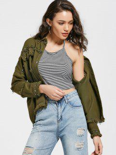 Rivet Embellished Pockets Frayed Hem Jacket - Army Green L