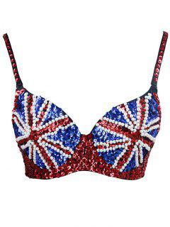 Union Flag Beaded Sequin Bra - Xl