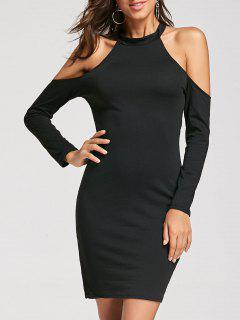 Long Sleeve Halter Open Shoulder Dress - Black Xl