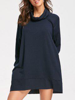 Mock Neck Long Sleeve Casual Dress - Cadetblue M
