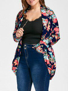 Froral Plus Size Open Front Cardigan - Floral 5xl