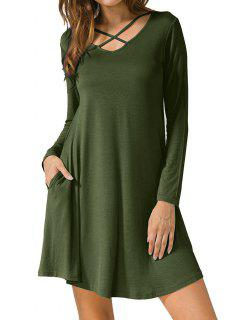 Criss Cross Long Sleeve T Shirt Dress - Army Green M