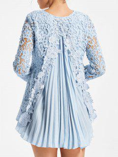 Long Sleeve Pleated High Low Lace Blouse - Light Blue L