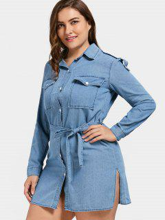 Plus Size Denim Slit Shirt Dress - Blue 3xl