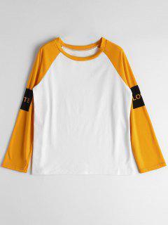 Camiseta De Manga Larga De Manga Larga Raglan - Naranja L