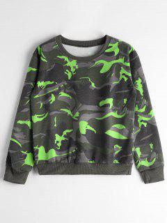 Crew Neck Camouflage Sweatshirt - Green M