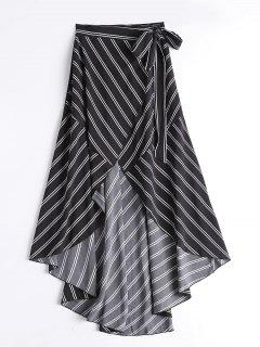 Striped High Waist Asymmetric Wrap Skirt - Black L