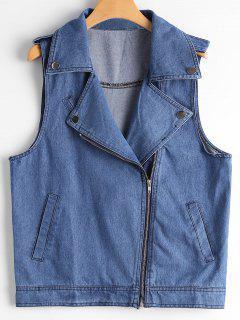 Asymmetric Zipper Denim Waistcoat - Blue L