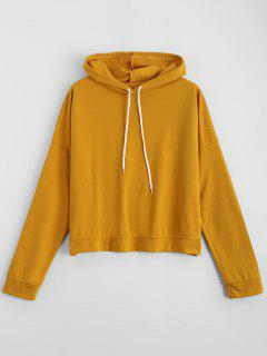 Drawstring Cross Back Drop Shoulder Hoodie - Ginger L