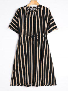Half Sleeve Drawstring Striped Dress - Black M