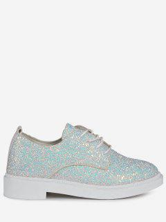 Low Top Glitter Tie Up Flat Shoes - White 37