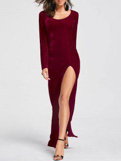 High Slit Velvet Maxi Dress - Wine Red Xl