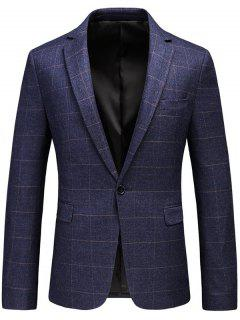 One Button Lapel Checked Blazer - Purple Xl