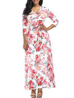 Rose Print Surplice Maxi Dress - S