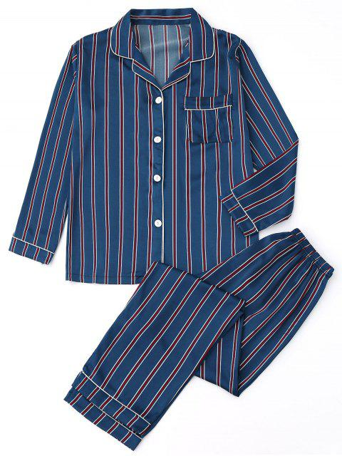 chic Satin Striped Shirt with Pants Pajamas - STRIPE S Mobile