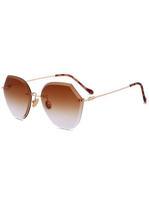 women's Ombre Lens Metallic Legs Rimless Sunglasses - CHOCOLATE  Mobile
