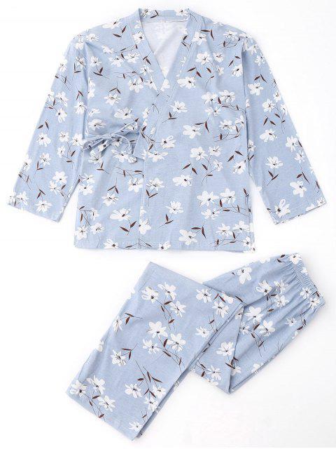 Floral Wrap Kimono und Hosen Pyjamas Anzug - Hellblau S Mobile