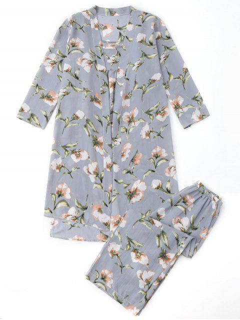 trendy Pajamas Floral Kimono and Cami Top and Pants - BLUE GRAY XL Mobile