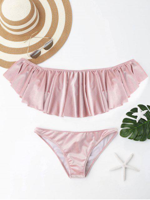 Velvet Ruffle Off el conjunto de bikini hombro - Rosado L Mobile