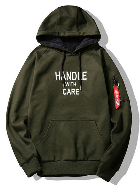 lady Flocking Handle With Care Graphic Hoodie - ARMY GREEN L Mobile