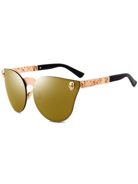 trendy Skull Insert Butterfly Mirror Sunglasses - GOLDEN  Mobile