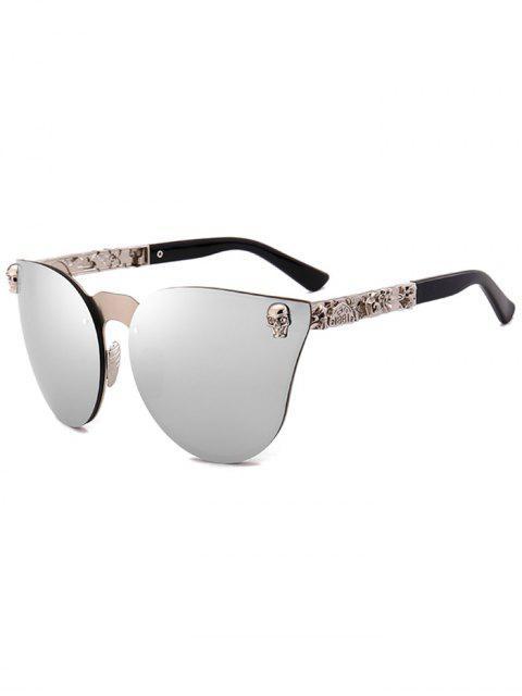 fashion Skull Insert Butterfly Mirror Sunglasses - SILVER  Mobile