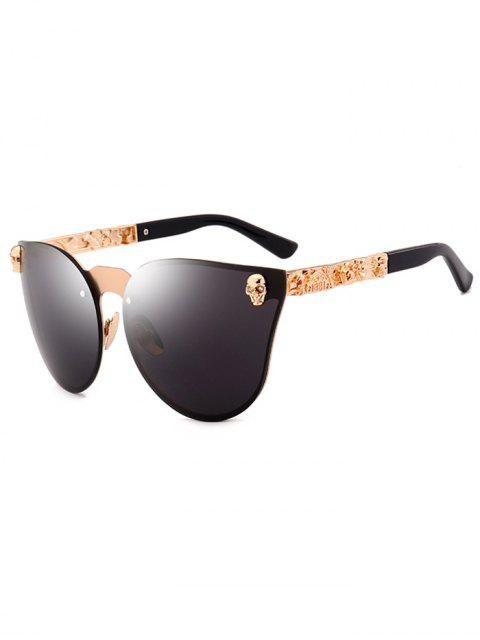 fancy Skull Insert Butterfly Mirror Sunglasses - BLACK  Mobile