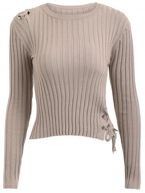 fancy Ribbed Lace Up Knitwear - KHAKI ONE SIZE Mobile