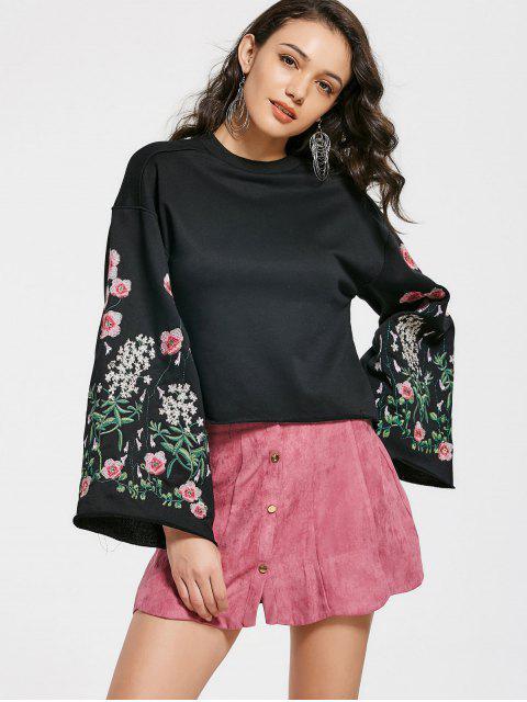 Sweat-shirt Brodé à Fleurs Ras du Cou Manches Cloches - Noir M Mobile