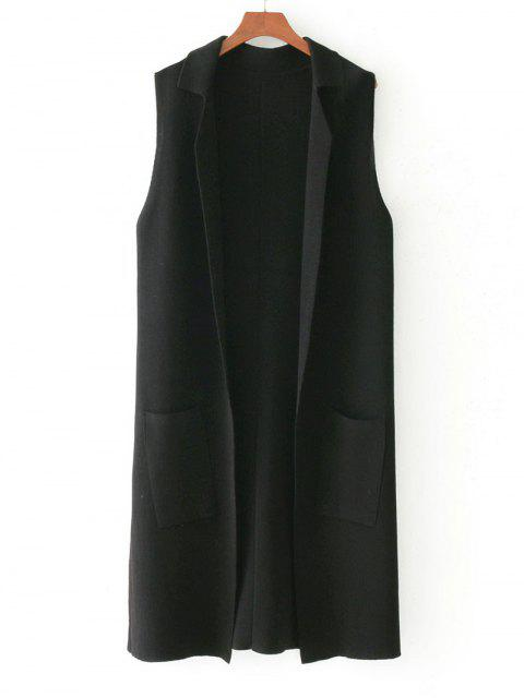 affordable Side Slit Knitting Open Front Waistcoat - BLACK ONE SIZE Mobile