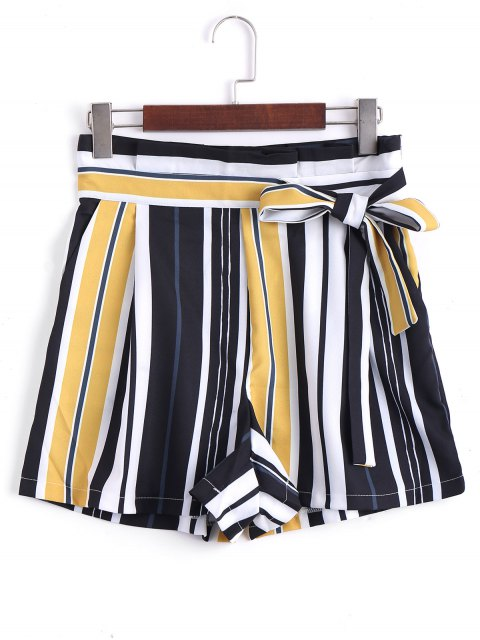 shop Bowknot High Waisted Striped Shorts - STRIPE L Mobile