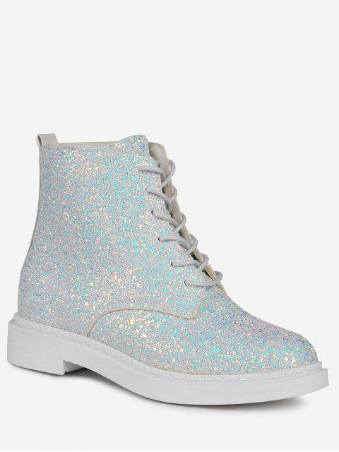 hot Lace Up Glitter Short Boots - WHITE 39 Mobile