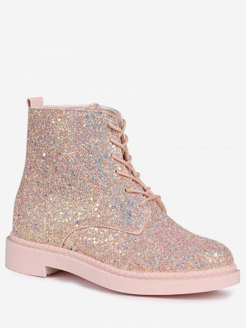 latest Lace Up Glitter Short Boots - PINK 38 Mobile
