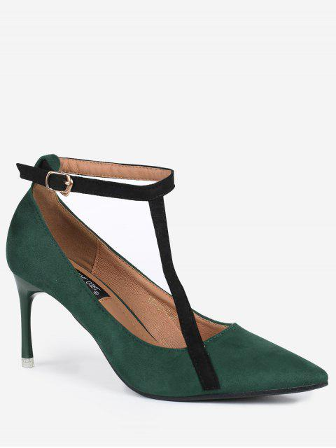 chic Pointed Toe Ankle Strap Mini Heel Pumps - GREEN 39 Mobile
