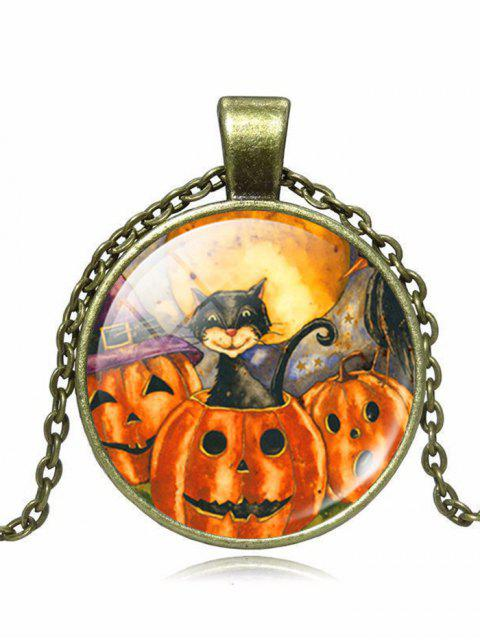 women's Halloween Cat Devil Pumpkin Pendant Necklace - BRONZE  Mobile