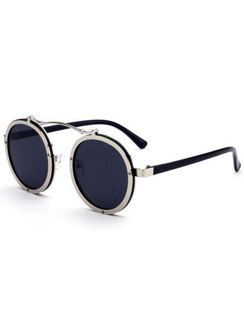 Lunettes de soleil à miroir rond métallique double - Argent Cadre + Objectifs Noir  Mobile
