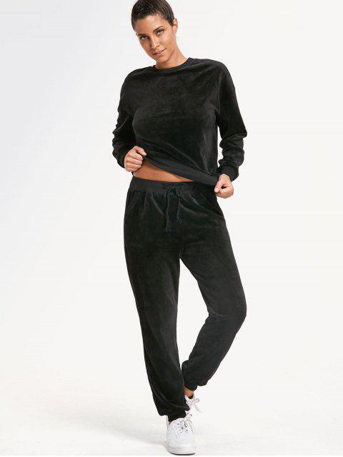 ladies Velvet Sweatshirt with Drawstring Track Pants - BLACK S Mobile
