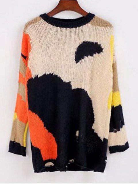best Contrasting Loose Ripped Sweater - MULTICOLOR ONE SIZE Mobile