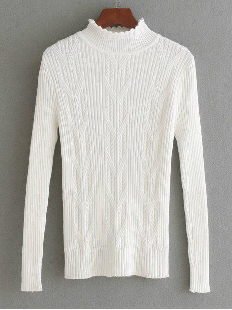 Suéter de panel de punto tejido con hilo horneado - Blanco Única Talla Mobile