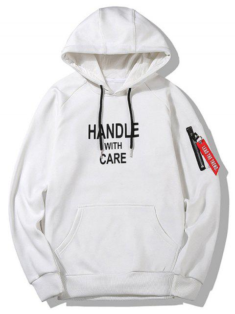 Slogan Graphic Hoodie Ropa para hombres - Blanco L Mobile