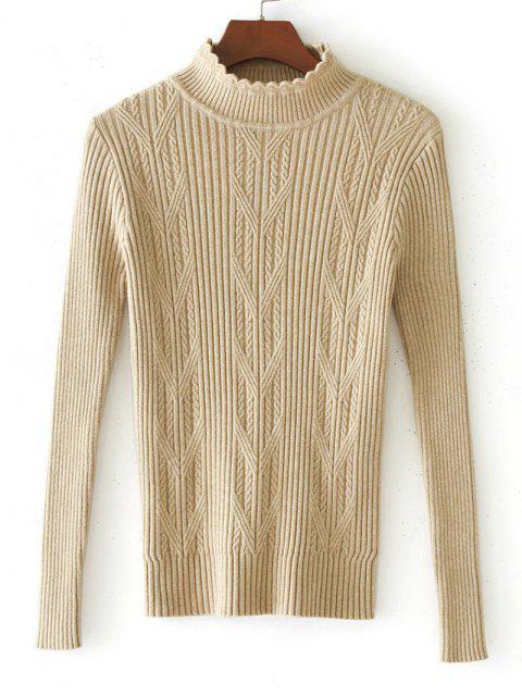 Suéter de panel de punto tejido con hilo horneado - Albaricoque Única Talla Mobile