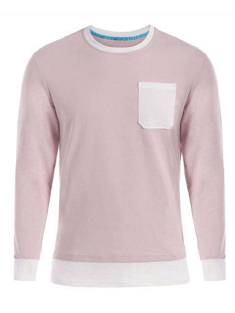 sale Front Pocket Long Sleeve T-shirt - SHALLOW PINK 3XL Mobile