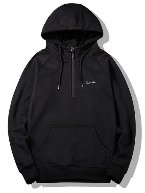 affordable Half-zipper Flocking Hoodie - BLACK L Mobile
