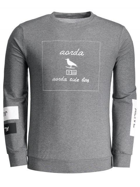 shop Graphic Marled Crew Neck Sweatshirt - DEEP GRAY XL Mobile