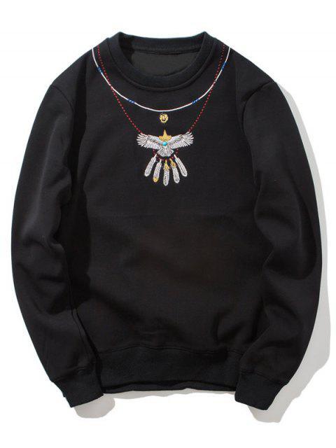unique Crew Neck Flocking Embroidered Sweatshirt - BLACK L Mobile