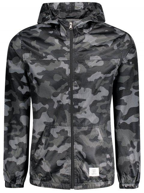 online Patched Fishnet Camo Windbreaker - BLACK 3XL Mobile