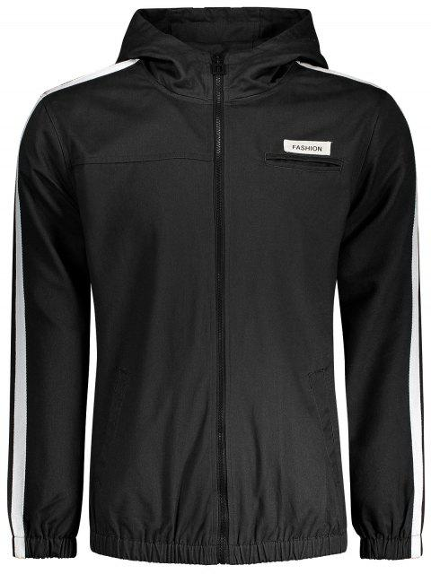 fashion Graphic Patch Stripe Windbreaker Jacket - BLACK 4XL Mobile