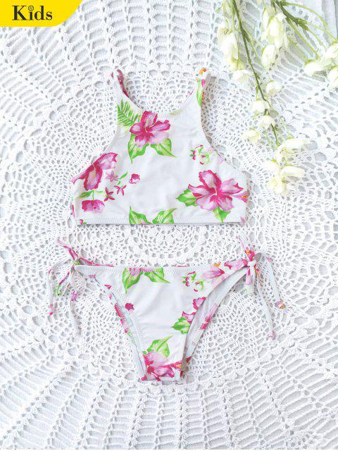 womens Floral High Neck Kids String Bikini - WHITE 7T Mobile