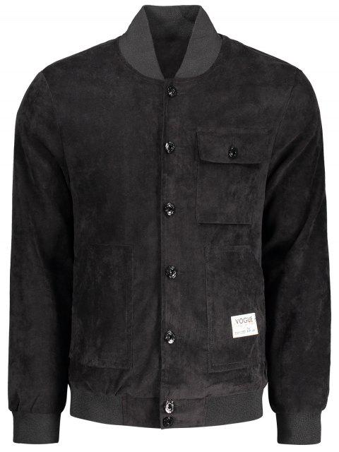 lady Button Up Patched Corduroy Jacket - BLACK 2XL Mobile