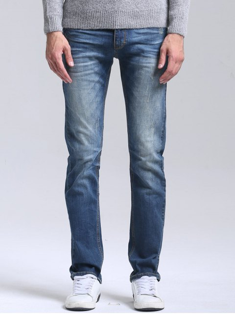 shop Scratched Straight Leg Jeans - BLUE 34 Mobile